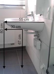 unterfahrbares Waschbecken mit Maßen