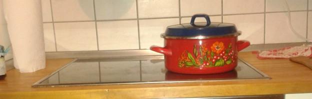 Ein Kochtopf auf einer Herdplatte.