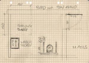 Die Skizze zeigt ein barrierefreies Bad