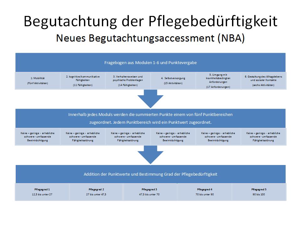 Schema zur Ermittlung des Pflegegrades.
