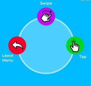 Das Bild zeigt das Action Menu, welches aus drei Buttons besteht..