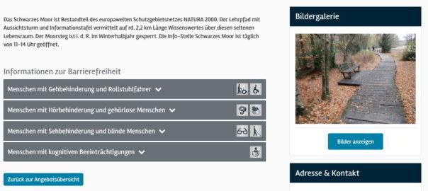 Das Bild zeigt einen Screenshot der Webseite Reisen für Alle.